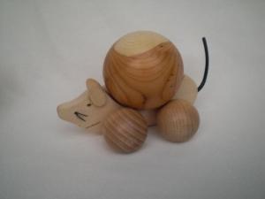 kleine Maus aus Holz, gedrechselt, zum Rollen oder Schieben, kaufen
