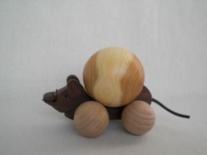 mittlere Maus aus Holz, gedrechselt, zum Rollen oder Schieben, kaufen
