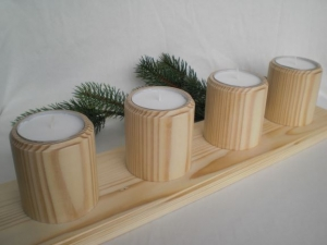 Adventskranz aus Holz für Maxi-Teelichter (für Teelichte 6 cm) kaufen