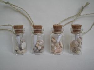 4er Set Geschenkanhänger maritim als Mini-Flaschenpost