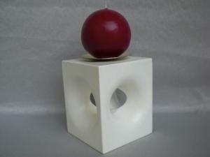 weißer Kerzenständer aus Holz, in Handarbeit gefertigt, mit Kerze, kaufen - Handarbeit kaufen
