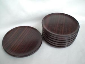 Holz-Untersetzer für 6 Gläser und 1 Flasche, aus Palisander gedrechselt