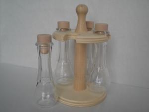 kleines Holzrondell, gedrechselt, mit 4 leeren Fläschchen zum individuellen Befüllen - Handarbeit kaufen