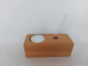 Kleine Tischdeko: Vase, Teelichthalter aus Holz, ohne Blumen, kaufen  - Handarbeit kaufen