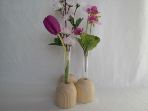 kleine Holz-Vasen natur (3 zusammen) mit kl. Reagenzglas, 5 cm, Tischdeko, kaufen  - Handarbeit kaufen