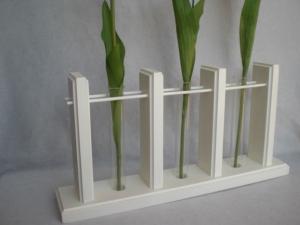 3er Holzvase mit Reagenzgläsern, weiß, Tischdeko kaufen - Handarbeit kaufen