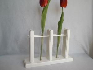 2er Holzvase mit Reagenzgläsern, weiß, Tischdeko kaufen