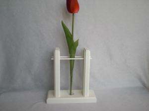 1er Holzvase mit Reagenzglas, weiß, Tischdeko kaufen - Handarbeit kaufen