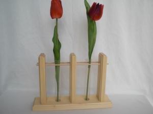 2er Holzvase mit Reagenzgläsern, natur, Tischdeko kaufen  - Handarbeit kaufen