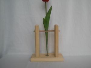 1er Holzvase mit Reagenzglas, natur, Tischdeko kaufen  - Handarbeit kaufen