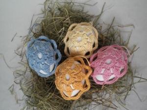 4 behäkelte Ostereier für den Osterstrauß, Pastellfarben, nostalgisch, Handarbeit, kaufen   - Handarbeit kaufen