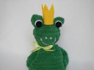 Froschkönig aus einem grünen Waschlappen kaufen  - Handarbeit kaufen