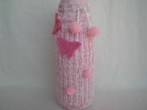 bestrickte Blumenvase in rosé und weiß, Handarbeit kaufen - Handarbeit kaufen