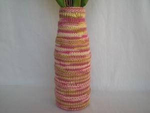 bestrickte Blumenvase in Pastellfarben, Handarbeit kaufen  - Handarbeit kaufen