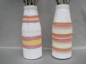 2 bestrickte Blumenvasen als Paar in Pastellfarben, Handarbeit kaufen  - Handarbeit kaufen