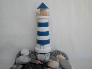 großer gedrechselter Holz-Leuchtturm in blau und weiß, 16,5 cm, maritime Deko