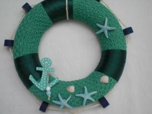 Türkranz gestrickt als Rettungsring, maritim, in grün, blau und türkis, kaufen  - Handarbeit kaufen