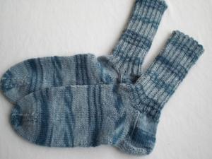 handgestrickte warme Kindersocken in Gr. 32/33  graublau kaufen  - Handarbeit kaufen