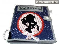 Mutterpass Mutter mit Locken und Kind in blau