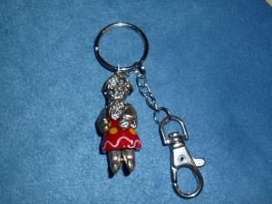 Handgefertigter Schlüssel oder Taschen Anhänger Magier aus Glas und Metallteilen