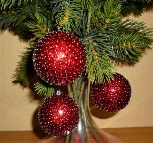 Baumschmuck aus Pailetten - Christbaumkugeln im 3er Set - rot - Weihnachtsdekoration  - Handarbeit kaufen