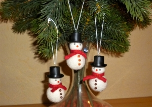 Winterliche Deko - Schneemann im 3er Set aus Filz - Weihnachtsdekoration - - Handarbeit kaufen