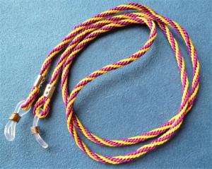 Handgeflochtenes Brillenband  aus Schmuckkordel in lila-gelb - Geschenk für Frauen  - - Handarbeit kaufen