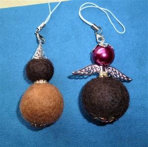 Handgefertigter Schlüsselanhänger/Taschenbaumler * Filz-Engel und Wichtel im Set * - Geschenk für Frauen und Mädchen - - Handarbeit kaufen