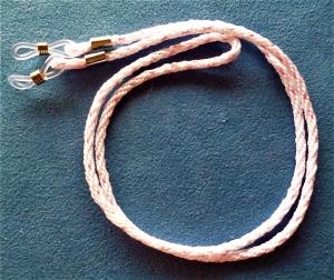 Handgeflochtenes Brillenband  in weiß mit rosa  - Geschenk für Frauen - - Handarbeit kaufen