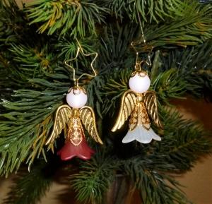 Handgefertigter Weihnachtsschmuck *Engelchen mit Zieranhänger* in gold im 2er Set - Weihnachtsdekoration - - Handarbeit kaufen