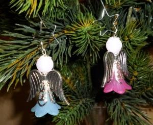 Handgefertigter Weihnachtsschmuck *Engelchen mit Zieranhänger* in silber im 2er Set  - Weihnachtsdekoration - - Handarbeit kaufen