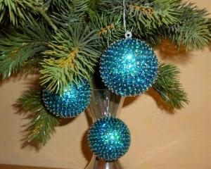 Baumschmuck aus Pailetten - Christbaumkugeln im 3er Set - türkis - Weihnachtsdekoration - - Handarbeit kaufen