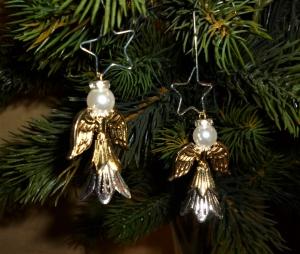 Deko-Engel im 2er Set handgefertigt  zum Aufstellen oder aufhängen  - Weihnachtsdekoration -  - Handarbeit kaufen