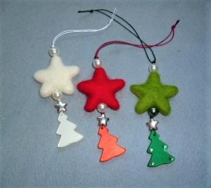 Weihnachtliche Geschenkanhänger mit Filzstern und Tannenbäumchen - 3er Set - Handarbeit kaufen
