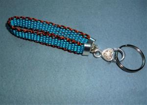 *Schlüsselanhänger* handgeflochten mit Schmuckkarabiner und Schlüsselring  - Handarbeit kaufen