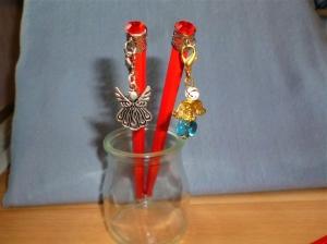 Bleistifte mit Charmanhänger  - Engel -  und Glitzerstein - im 2er Set  - Geschenk für Mädchen  (Kopie id: 100268398) (Kopie id: 100268400) - Handarbeit kaufen