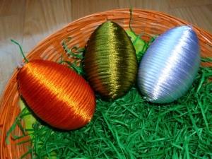 Handgefertigtes 3er Set Deko-Ostereier  in den Farben von Palundu - Handarbeit kaufen