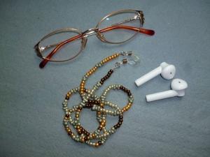 Handgefädelte zierliche Brillenkette *multicolor*   - Handarbeit kaufen
