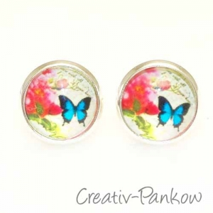 Paar Cabochon-Ohrstecker ★Rose & Schmetterling★12mm S