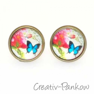 Paar Cabochon-Ohrstecker ★Rose & Schmetterling★12mm