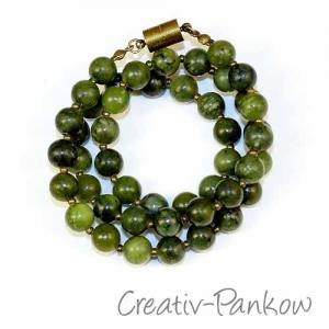 Naturstein-Kette ♥ Grüne chinesische Jade ♥ 8mm