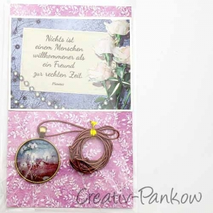 Geschenkset - Lederkette mit Cabochon - Anhänger ♥Pusteblumen♥