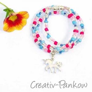 Süße Kinderkette ♥blau/pinkes Einhorn♥  mit Magnetverschluss