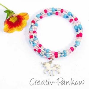 Süßes Kinder Spiral Armband ♥blau/pinkes Einhorn♥
