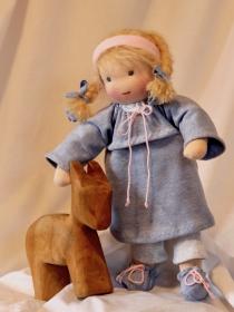 Stoffpuppe Mädchen ca.35 cm mit rosa oder blauen Kleid in Handarbeit aus Naturmaterialien nachhaltig hergestellt Plastikfrei