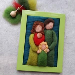 Handgefilztes, individuelles Familienportrait aus Wolle (1-4 Personen mit maximal 2 Erwachsenen)