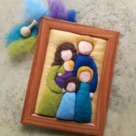 Handgefilztes, individuelles Familienportrait ausWolle (5 Personen: 2 Erwachsene und 3 Kinder)