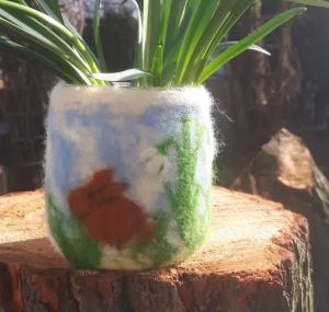Nassgefilztes Windlicht/Vase: ♥Kaninchen mit Schneeglöckchen♥, Ostern, Frühling, 10cm hoch
