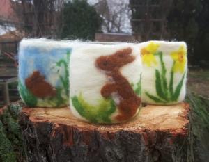 Nassgefilztes Windlicht/Vase: ♥Kaninchen♥, Hase, Ostern, Frühling, 10cm hoch