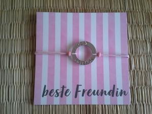 Armband ♡ beste Freundin ♡ ♥, mit Schmuckkarte, Gummiarmband - Handarbeit kaufen